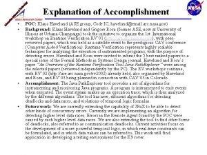 Explanation of Accomplishment POC Klaus Havelund ASE group