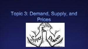 Topic 3 Demand Supply and Prices Price changes
