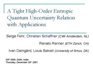 A Tight HighOrder Entropic Quantum Uncertainty Relation with