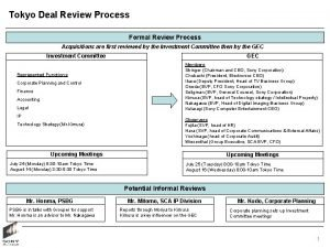 Tokyo Deal Review Process Formal Review Process Acquisitions