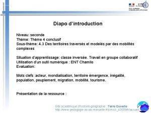 Diapo dintroduction Niveau seconde Thme Thme 4 conclusif