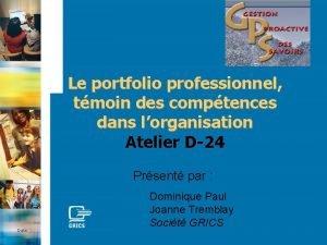 Le portfolio professionnel tmoin des comptences dans lorganisation