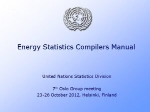 Energy Statistics Compilers Manual United Nations Statistics Division