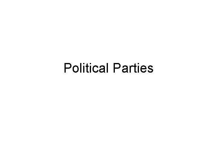 Political Parties The Meaning of Party Political Party