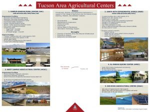 Tucson Area Agricultural Centers 1 CAMPUS AGRICULTURAL CENTER