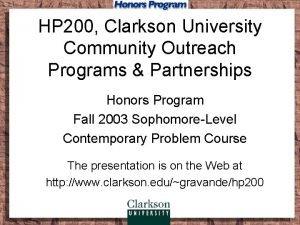 HP 200 Clarkson University Community Outreach Programs Partnerships