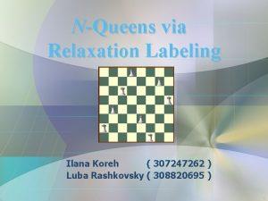 NQueens via Relaxation Labeling Ilana Koreh 307247262 Luba