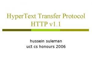 Hyper Text Transfer Protocol HTTP v 1 1
