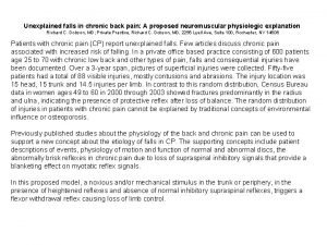 Unexplained falls in chronic back pain A proposed