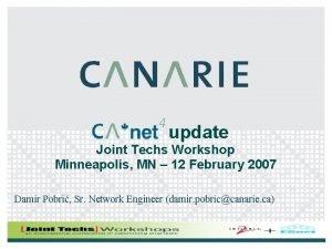 update Joint Techs Workshop Minneapolis MN 12 February