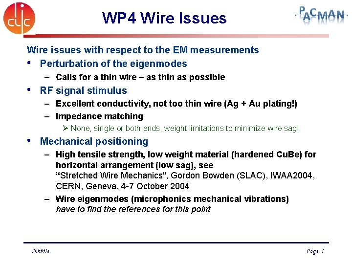 WP 4 Wire Issues Wire issues with respect