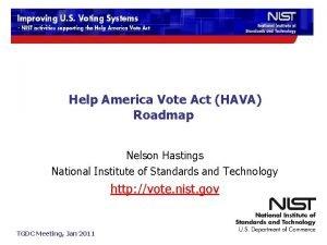 Help America Vote Act HAVA Roadmap Nelson Hastings