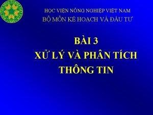 HC VIN NNG NGHIP VIT NAM B MN