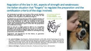 Regulation of the law in AAI aspects of