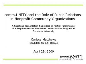 comm UNITY and the Role of Public Relations