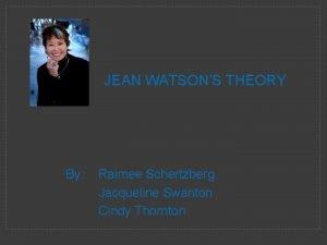 JEAN WATSONS THEORY By Raimee Schertzberg Jacqueline Swanton
