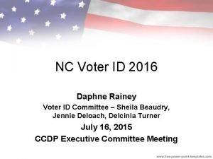 NC Voter ID 2016 Daphne Rainey Voter ID