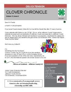 OSU EXTENSION CLOVER CHRONICLE Volume 13 Issue 6
