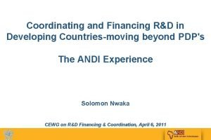 Coordinating and Financing RD in Developing Countriesmoving beyond