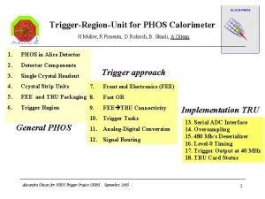 TriggerRegionUnit for PHOS Calorimeter H Muller R Pimenta
