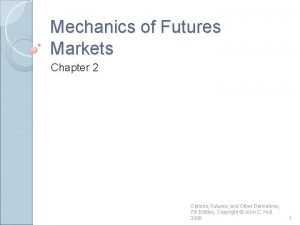 Mechanics of Futures Markets Chapter 2 Options Futures