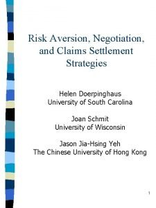 Risk Aversion Negotiation and Claims Settlement Strategies Helen