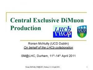 Central Exclusive Di Muon Production Ronan Mc Nulty
