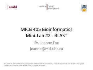 MICB 405 Bioinformatics MiniLab 2 BLAST Dr Joanne