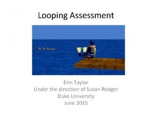 Looping Assessment Erin Taylor Under the direction of