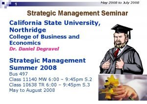 May 2008 to July 2008 1 Strategic Management