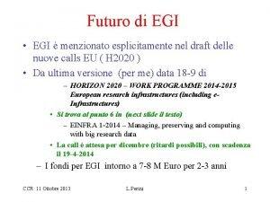 Futuro di EGI EGI menzionato esplicitamente nel draft
