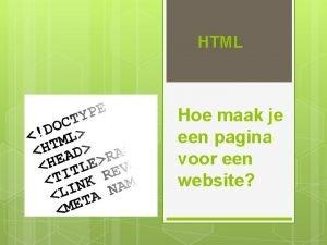 HTML Hoe maak je een pagina voor een