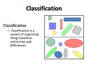Classification Classification is a system of organizing things