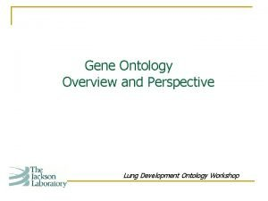 Gene Ontology Overview and Perspective Lung Development Ontology