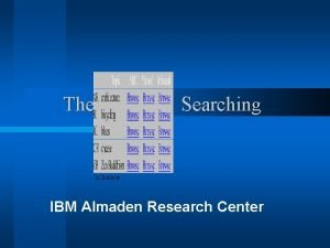 The CLEVER Searching IBM Almaden Research Center The