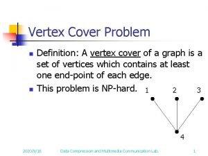 Vertex Cover Problem n n Definition A vertex