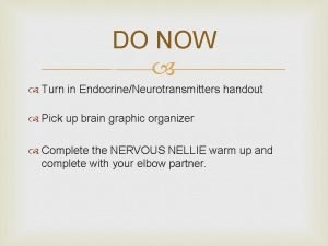 DO NOW Turn in EndocrineNeurotransmitters handout Pick up
