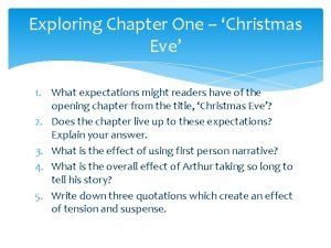 Exploring Chapter One Christmas Eve 1 What expectations
