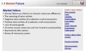 1 4 Market Failure Unit Overview Market failure