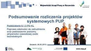 Wojewdzki Urzd Pracy w Szczecinie Podsumowanie rozliczenia projektw