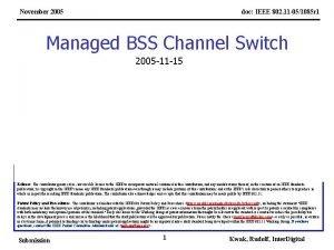 November 2005 doc IEEE 802 11 051085 r