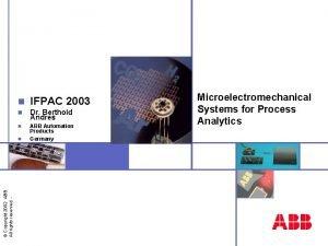 n IFPAC 2003 n Dr Berthold Andres n