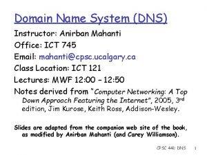 Domain Name System DNS Instructor Anirban Mahanti Office