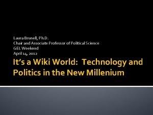 Laura Brunell Ph D Chair and Associate Professor
