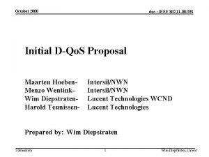 October 2000 doc IEEE 802 11 00398 Initial