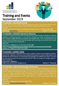 Training and Events September 2019 2 nd September