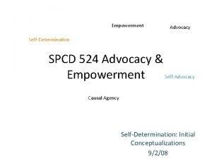 Empowerment Advocacy SelfDetermination SPCD 524 Advocacy SelfAdvocacy Empowerment