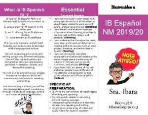 What is IB Spanish SL IB Spanish SL