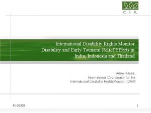 International Disability Rights Monitor Disability and Early Tsunami