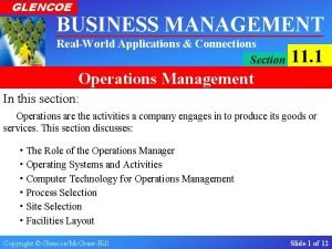GLENCOE BUSINESS MANAGEMENT RealWorld Applications Connections Section 11